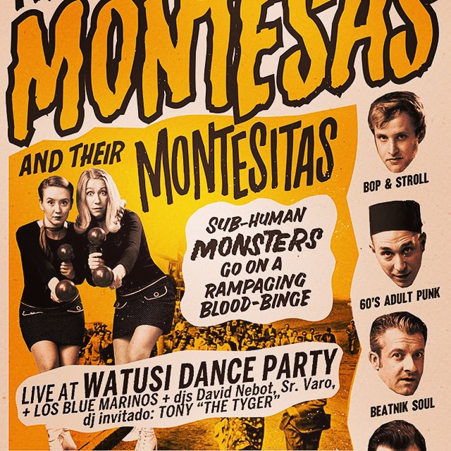 "El proximo sabado 25>>> WATUSI DANCE PARTY con #themontesas y #losbluemarinos después a bailar hasta las 6,30h con los djs Sr.Varo y David Nebot + dj invitado desde California Tony ""The Tyger"" en @16toneladas_rockclub. #watusidanceparty #marcelbontempi #16toneladas_rockclub #conciertos #valencia #rock >>>consulta web!!!!"