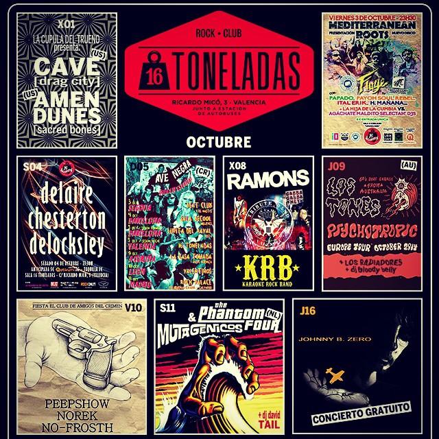 Programación OCTUBRE, mas info en www.16toneladas.com #16toneladas_rockclub #valencia #conciertos #rock